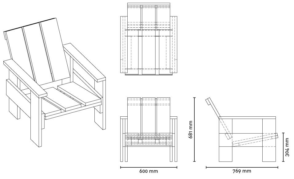 crate chair progetto dimensioni
