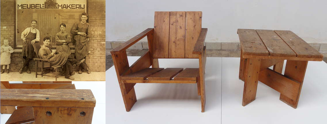Crate chair 1935 ed il Rietveld staff, Utrecht 1918